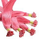 25 x 1g Bonding Extensions - 50cm, pink, glatt - Keratin U-Tip Echthaar Extensions Haarverlängerung Nail Bondings