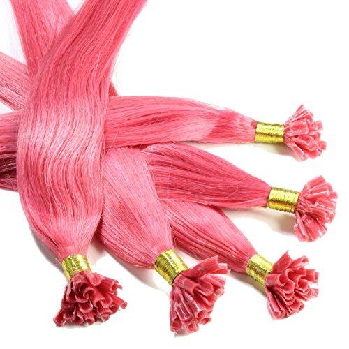 hair2heart 25 x 0.5g Echthaar Bonding Extensions, glatt - 30cm - #pink (Echthaar-extensions Pink)