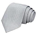 GASSANI Krawatte 8cm | Karo Kariert Edle Seidenoptik | Herrenkrawatte zum Anzug | Schlips Binder in 19 modischen Farben, Lichtgrau | Platingrau, 145cm x 8cm
