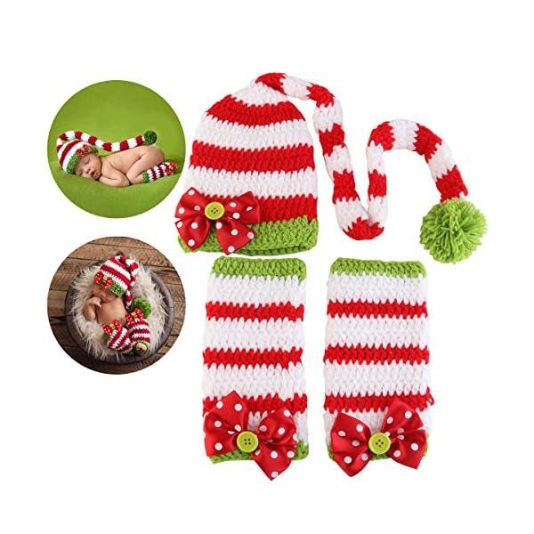 NUOLUX Disfraz Fotografía Props Crochet Sombrero y Ropa para Bebé en Navidad Día 1