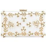 Milisente Damen Blumen Clutch Elegante Abendtasche Perle Tasche Hochzeit Handtasche (Weiß)