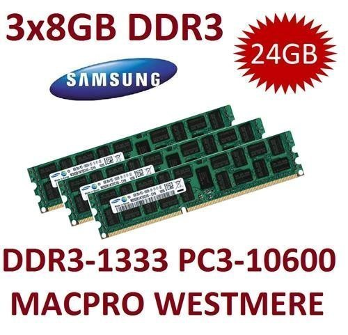 3x 8GB DDR3 1333Mhz PC3-10600R 240pin, ECC, Dual Rank, 1.5V, CL9 -