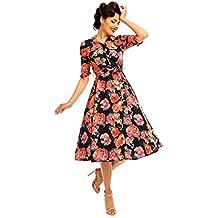 be04a5a3d4d353 Looking Glam Retro Vintage Inspiriertes 40er Jahre Damen Shirt Kleid