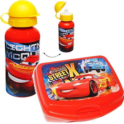 alles-meine.de GmbH 2 TLG. Set _ Lunchbox / Brotdose & Trinkflasche -  Disney Cars / Lightning McQueen - Auto  - großes Fach - SUPERLEICHT - Brotbüchse Küche Essen - aus Kunsts..