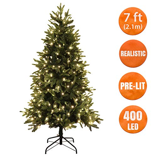 Realistic Christmas Tree Artificial 7 Ft 400 Warm White LED Pre Lit, Hinged, Metal Stand PE & PVC Mixed Tips