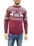 Raff&Taff Herren Strickpullover Sweater Hoodie Wollpullover   M - 5XL   Norweger Island Pullover Weihnachten Winter (Weinrot Hirsch, 54)