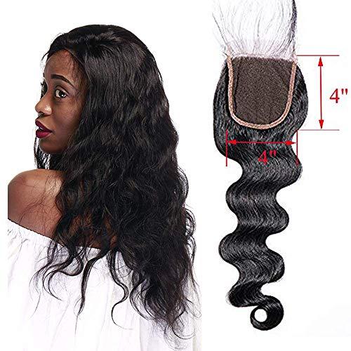 Lace closure human hair capelli veri ricci umani 25cm extension matassa con chiusure frontali body wave mossi nero naturale 25g free part 4