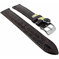 Eulit watch strap Bar Ridging | an exclusive Replacement Band Made of High Gloss Mock Croc in many colours, colours: brown, length: 15mm,: Silver Clasp, Length: Lady/N