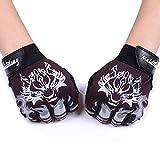 Fortuning's JDS Antideslizantes guantes de ciclo del medio dedo transpirable estilo lobo...