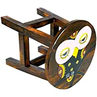 Preisvergleich für Simandra Holzhocker Kinderhocker Hocker Sitzhocker Fußbank Massivholz Schemel Stuhl mit Tiermotiv Deko Braun Farbe Eule