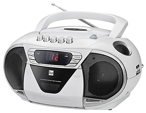 Dual P 65 Weiß Portable Boombox (UKW-Radio, CD-Player, Kassettenabspieler, AUX-In Audioeingang) weiß