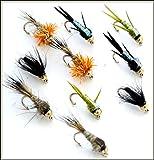 10Gold Headed Nymphs Fliegenfischen Fliegen 33j-12–1A auf 5A Fly Haken Größe 12