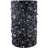 Head loop multifunción negro para niños con diseño de calavera loop paño braga bufanda de cuello pañuelo de microfibra