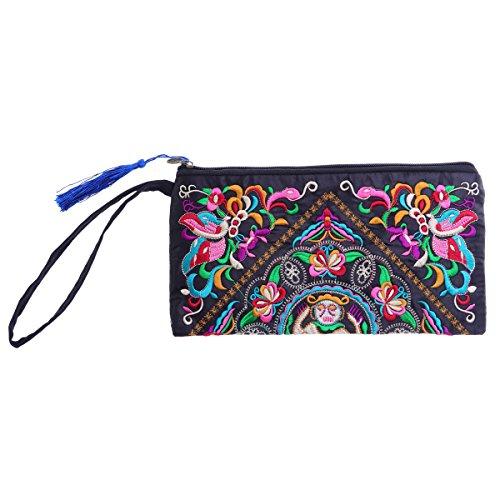 BESTOYARD Frauen Handtasche handgemachte chinesische Art Retro gestickte Geldbörse Telefon Geldbörse mit Gurt (Satin Schmetterling Muster) (Bestickte Geldbörse)