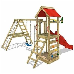 WICKEY Aire de jeux StarFlyer Portique de jeux en bois Tour d'escalade, toboggan rouge + bâche rouge
