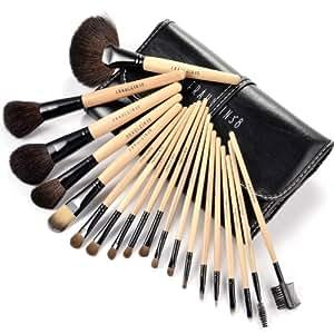 FRARULEIN3°8 Trousse Pinceaux maquillage 19pcs manche bois fonctions divers Fard ombre