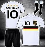 ElevenSports Deutschland Trikot + Hose + Stutzen mit GRATIS Wunschname + Nummer + Wappen Typ #D19 im EM/WM Weiss - Geschenke für Kinder,Jungen,Baby. Fußball T-Shirt personalisiert