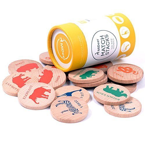 MHBY Wooden Memory Matching Game - IMPROVES MEMORY & IQ LEVEL & CREATIVITY - Wildlife Animals Match Stacks Educational Toy Early Development Learning Puzzle, 16 Pcs