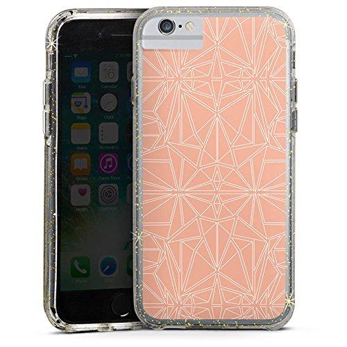 Apple iPhone 7 Bumper Hülle Bumper Case Glitzer Hülle Pattern Muster Peach Bumper Case Glitzer gold