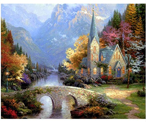 WAZHCY Kirche Landschaft Landschaft DIY DIY malerei by Zahlen Moderne wandkunst leinwand malerei einzigartiges Geschenk wohnkultur 40x50 cm,Ohne Rahmen,H (Kirche Weihnachten Spiele Für Erwachsene)