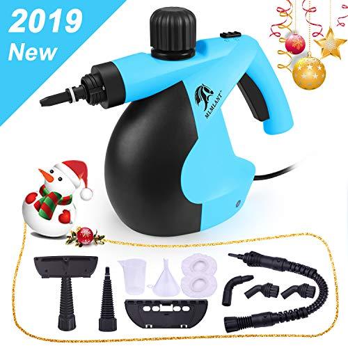 MLMLANT dampfreiniger Mehrzweck 350ml Handdruckdampfreiniger mit 11-teiligem Zubehör für Fleckenentfernung, Teppiche, Vorhänge, Bettwanzensteuerung, Autositze MEHRWEG (Blau)