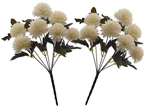 Fourwalls Chrysanthemum Ball Flower Bouquet (49 cm, White, 7 Branches, Set of 2)