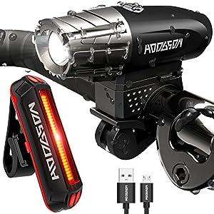 HODGSON Juego de Luces para Bicicleta de Carga USB - Ultra Brillante Set de Luz Frontal y Luz Trasera LED para Bicicletas, Resistente a la Salpicadura, Fácil de Instalar y Desinstalar Garantizando un Viaje Seguro