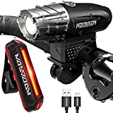 HODGSON USB Rechargeable Bike Light Set 10 Modes Super Bright LED Front and Rear Flashlight Easy to Install Quick Release, Black