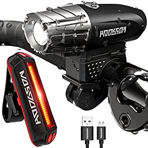 Hodgson, Rechargeable LED Bike Light Set Front and Rear Lights, Bright Light, Light for MTB Cycling Sport, Noir-1