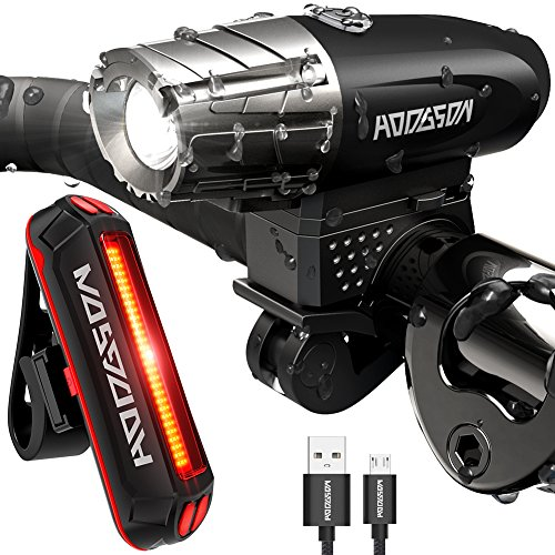 HODGSON Bike Lights Set Both USB Rechargeable, Super Bright LED Front and Tail Light Set, Splash-proof for Safe Cycling