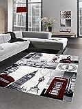 Carpetia Designer Teppich London Motiv Grau Rot Schwarz Größe 140x200 cm