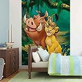 Der Koenig Der Loewen Timon Pumba Simba - Wallsticker Warehouse - Fototapete - Tapete - Fotomural - Mural Wandbild - (3209WM) - XXL - 206cm x 275cm - VLIES (EasyInstall) - 2 Pieces