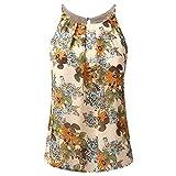 SEWORLD 2018 Damen Mode Sommer Herbst Blumen Weste Top Ärmellose Beiläufige Tank Bluse Tops T-Shirt(Y-a-Beige,EU-46/CN-2XL)