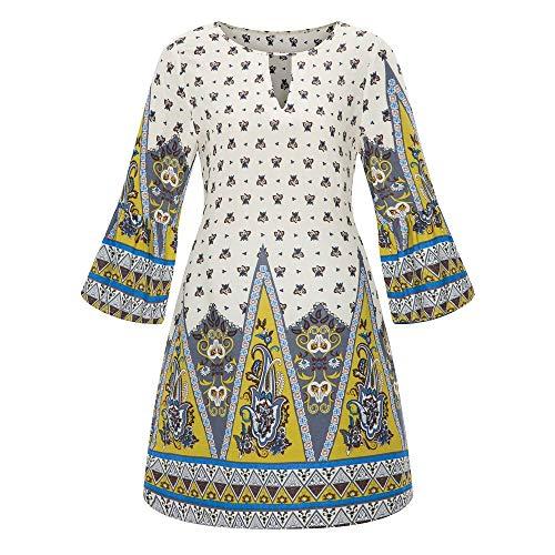 iHENGH Damen Frühling Sommer Rock Bequem Lässig Mode Kleider Frauen Röcke Große Größe Frauen Casual Langarm Minikleid Abend Partykleid(Weiß-1, L)