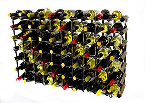 Klassisch 70 Flasche Eiche dunkel gebeiztem Holz und verzinktem Metall Weinregal fertig montiert