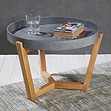 Wholesaler GmbH Praktischer Tabletttisch Tisch Beistelltisch in grau 40 x ø55 cm für den Wohnbereich - Couchtisch mit Abnehmbarer Tischplatte und Holzfüßen