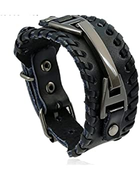 ID Echtleder Armband mit Edelstahlplatte inkl Gravur nach Wunsch Braun/Schwarz