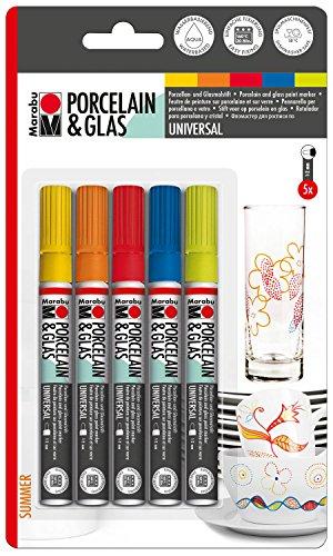 Marabu 012300083 - Porcelain und Glas Painter, Summer 5er, Universalspitze 1-2 mm, sortierung