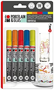 Juego de 5 rotuladores Marabu 012300082 para Pintar en Porcelana y Cristal, con Punta DE 1-2 mm