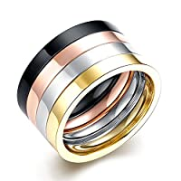 Lekima Ring 4 Pcs Set Multi Color Smooth Stainless Steel Christmas Birthday Gift Jewellery For Men #Q (Gift Bag Included)