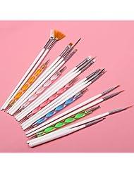 Kit Lot de 15 Pinceaux à Ongles et 5 Stylos Dotting Tools Doubles Pour Nail Art