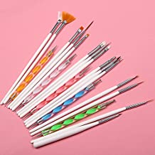 Kit-Set de 15 pinceles para uñas y 5 bolígrafos Dotting Tools dobles para manicura