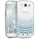 kwmobile Funda transparente para Samsung Galaxy S3 / S3 Neo con diseño IMD y marco de silicona TPU con parte trasera de plástico - transparente blanda para móvil carcasa protectora bumper Diseño sol indio