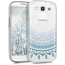 kwmobile Funda para Samsung Galaxy S3 / S3 Neo - Case para móvil en TPU silicona - Cover trasero Diseño Sol hindú en azul blanco transparente