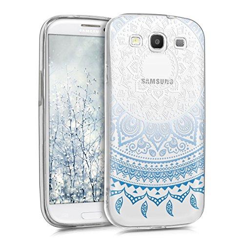 kwmobile Samsung Galaxy S3 / S3 Neo Cover - Custodia in Silicone TPU per Samsung Galaxy S3 / S3 Neo - Backcover Cellulare Blu/Bianco/Trasparente
