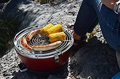 Tischgrill Vesuvio, raucharmer Holzkohlegrill - Schwarz