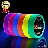 Neon Klebeband [Größere Größe] Neon Gaffa Tape, UV aktiv Tape, Fluoreszierendes, Leuchtband, 6 Farben, 25MM*15M Pro Rolle
