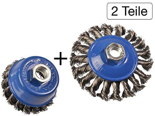 Preisvergleich Produktbild 2 tlg Set Topfbürste 75mm + Kegelbürste 100mm M14 gezopft für Winkelschleifer Flex