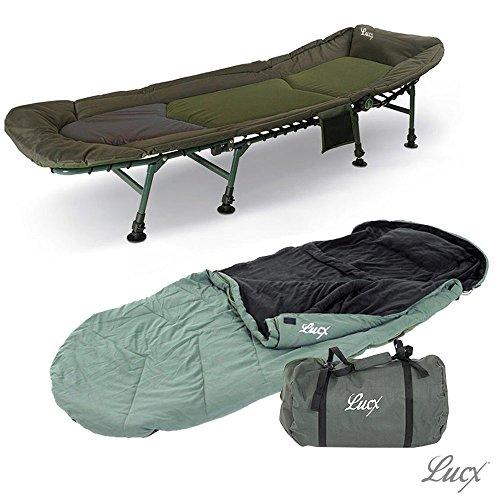 Lucx® Set / 8-Beine Karpfenliege / Angelliege / Bedchair + Schlafsack Nightcat / Sleeping bag