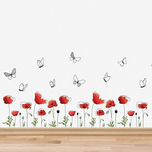 Wallflexi adesivi da parete \fiori di papavero da parete\